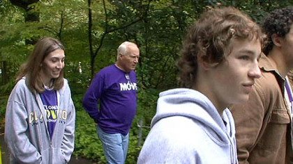 Alan Romatowski, second from left, with stepdaughter Katie, 26, and sons Yuri, 15, and Marek, 20, during the Memory Walk at the Pittsburgh zoo on Oct. 11.